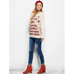 Crew Neck Letter Christmas Sweater - PALOMINO 2XL