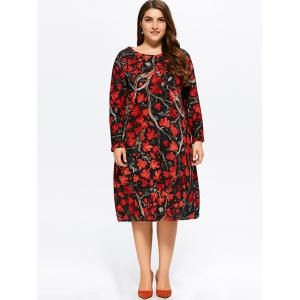 Plus Size Maple Print Baggy Dress - RED 3XL