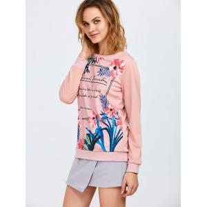 Floral and Letter Print Sweatshirt - SHALLOW PINK L