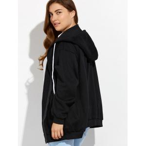 Plus Size Zipper Up Pockets Design Hoodie - BLACK 3XL