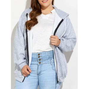 Plus Size Zipper Up Pockets Design Hoodie - Light Gray - 4xl
