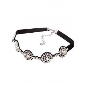 Rhinestone Faux Leather Choker Necklace -