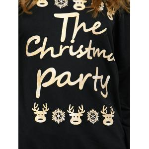 Skew Neck Letter Elk Print Christmas Sweatshirt - BLACK XL
