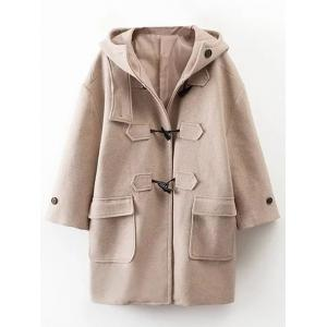 Hooded Wrap Oversized Woollen Blend Coat - Khaki - S