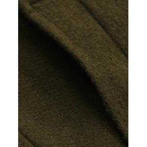 Double Breasted Woollen Blend TLong rench Coat - OLIVE GREEN L