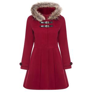 Hooded Woollen Blend A Line Coat - Red - M