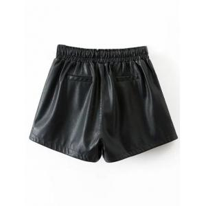 Drawstring Faux Leather Shorts - BLACK L