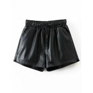 Drawstring Faux Leather Shorts - Black - S