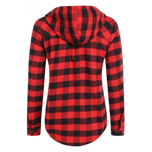 Hooded Checked Blouse - RED L