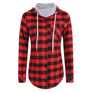 Hooded Checked Blouse