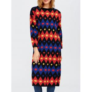 Color Block Midi Shift Sweater Dress - Red - One Size