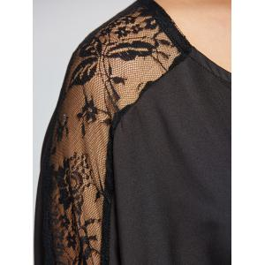 Lace Insert Batwing Sleeves Blouse - BLACK XS