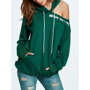 Wish Me Luck Graphic Cold Shoulder Hoodie -