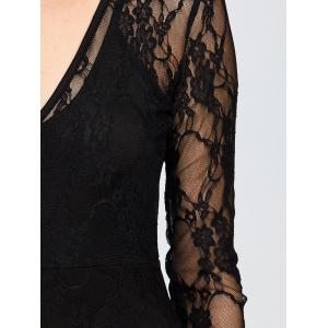 Sheer Bodycon Plunging Lace Tight Club Dresses - BLACK L