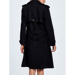 Lapel Double Breasted Belted Wool Blend Coat -
