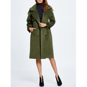Lapel Belted Double Breasted Wool Blend Coat -