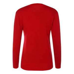 Crew Neck Christmas Pullover Sweater - RED ONE SIZE