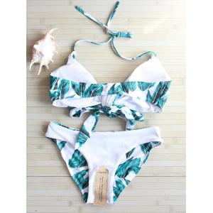 Self Tie Leaf Print Bikini Set - WHITE L