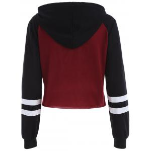 Letter Graphic Cropped Hoodie - RED/BLACK XL