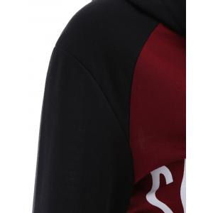 Letter Graphic Cropped Hoodie - RED/BLACK L
