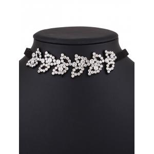 Rhinestone Artifical Leather Choker Necklace -