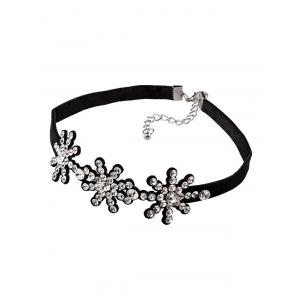 Rhinestoned Snowflake Choker Necklace -