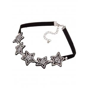 Star Rhinestoned Choker Necklace -