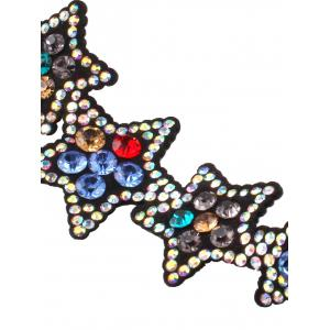 Star Rhinestone Faux Leather Necklace -