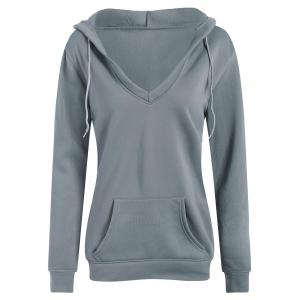 String Plunge Hoodie With Pocket
