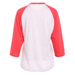 Christmas Raglan Sleeve Jingle Belly T-Shirt - RED XL