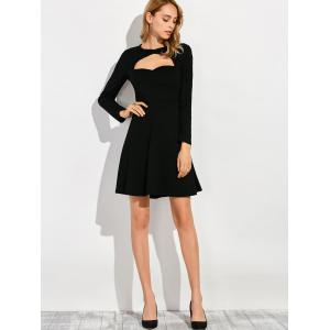 Robe manches longues col rond - Noir S