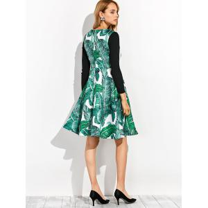 Knitted Leaf Printed Hawaiian Luau Dress With Sleeves -