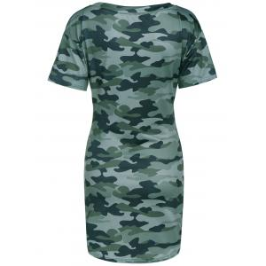 Round Neck Camo T- Shirt Dress -