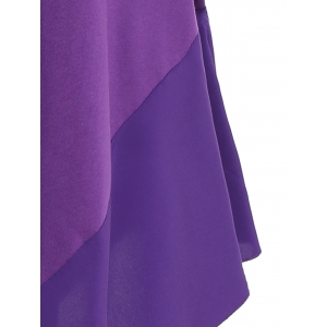 Long Sleeve Asymmetric Handkerchief Cream Dress - PURPLE L
