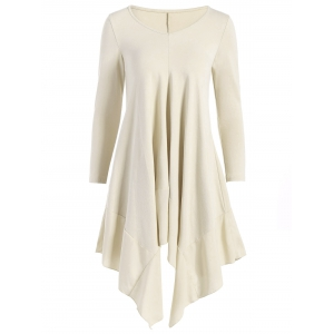 Long Sleeve Asymmetric Handkerchief Cream Dress - Off-white - S