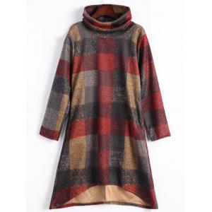 High Low Funnel Neck Plaid Dress