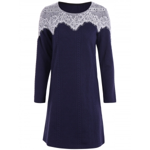 Lace Panel Long Sleeve Casual Jersey Knit Dress