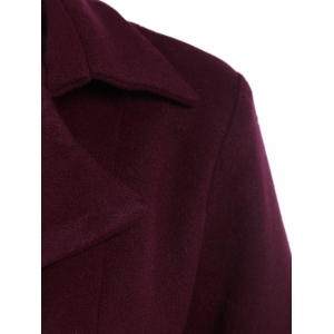 Belted Plus Size Overcoat - WINE RED 5XL