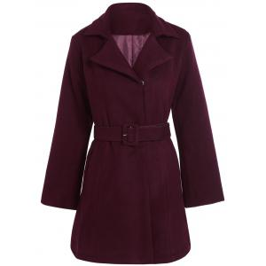 Belted Plus Size Overcoat - Wine Red - 2xl