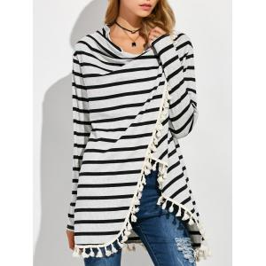 Revisable High Low Tassel Stripe Coat