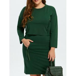 Drop Shoulder Tee and Zipper Pocket Skirt - Blackish Green - Xl