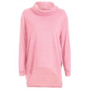 Turtleneck Long High Low Sweater - Pink - M