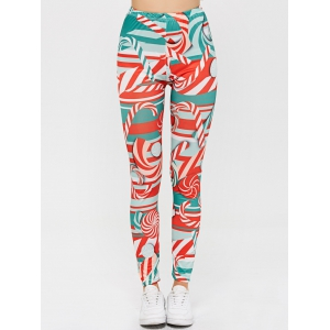 High Waisted Candy Cane Skinny Leg Pants - Red - S