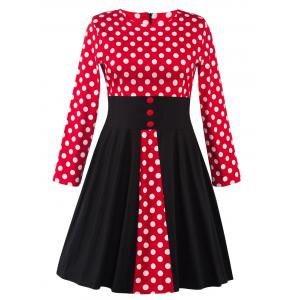 Plus Size Retro Polka Dot Long Sleeve Skater Dress