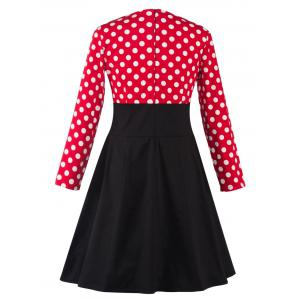 Plus Size Midi Retro Polka Dot Long Sleeve Swing Skater Dress - BLACK AND WHITE AND RED 4XL