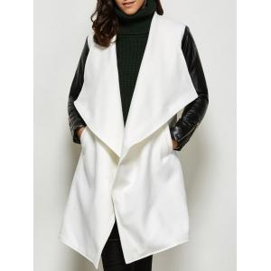 Faux Leather Panel Wool Blend Coat - White - S