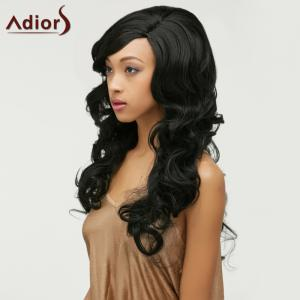 Adiors Fluffy Long Wavy Side Parting Synthetic Wig - BLACK
