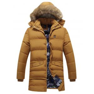 Detachable Hood Faux Fur Trim Coat
