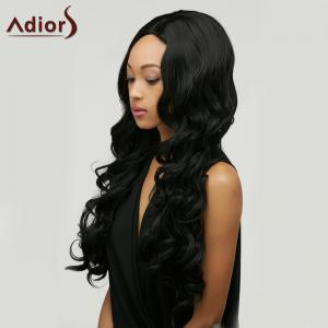 Adiors Long Shaggy Wavy Centre Parting Synthetic Wig - BLACK