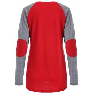 Printed Elbow Patch T-Shirt - GRAY AND RED XL